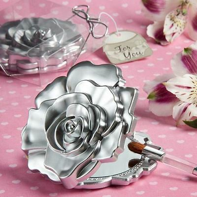 6 X Realistic Rose Design Compact Mirror Wedding & Party Filler Favours Gifts