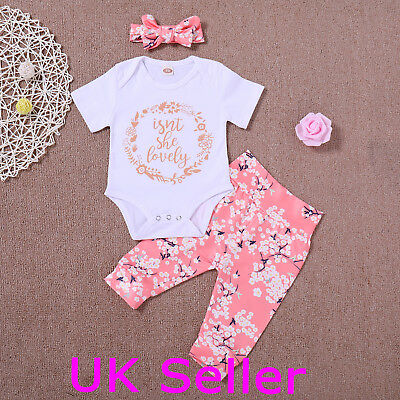 Newborn Baby Girl Romper Tops Jumpsuit Pants Headband Outfit Summer Clothes Set