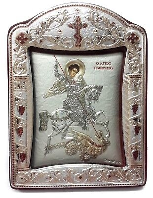 Saint St George Byzantine Silver 925 Icon Greek Orthodox Plaque Gold Plated 3.1""