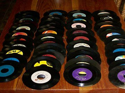 """Lot of 50  45 RPM 7"""" Vinyl Records For Decorating & Crafts"""