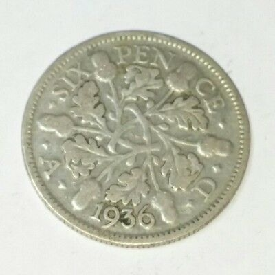 1936 Sixpence 50% 500 Parts Silver George Vl Lucky Sixpence (m) Acorns