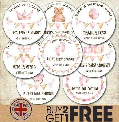 24x 40mm Personalised New Baby Shower Birth Girl Christening  Seal/Sticker/Label