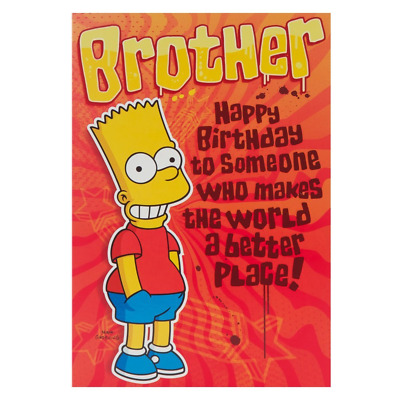Hallmark The Simpsons Birthday Card For Brother Bart Simpson