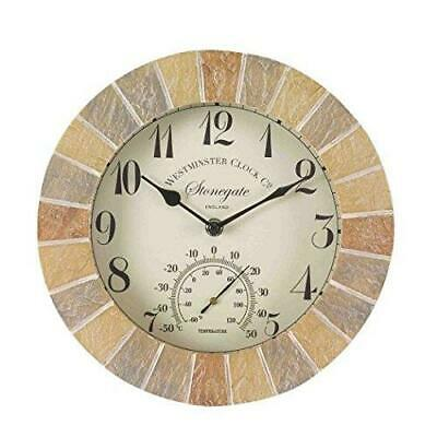 Outside-In Stonegate Sandstone 10in Wall Clock and Thermometer (5065030)