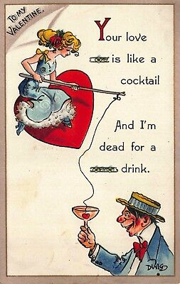 comic valentine postcard woman fishing for man luring him with a