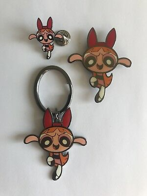 PowerPuff Girls - Blossom! - Keychain, Magnet & Lapel Pin Set! Don't miss out!
