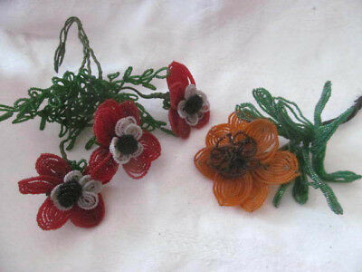 Cottage Chic~Lot of 4 Vintage Handmade French Beaded Flowers~Orange Red Poppies