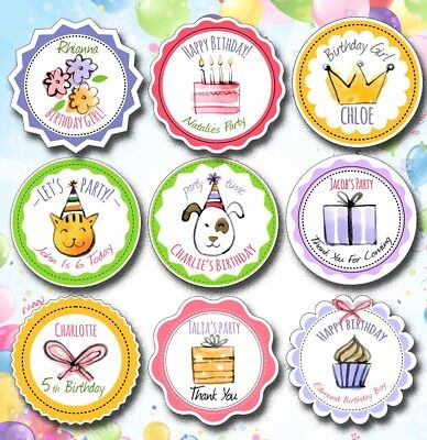 24x 40mm Personalised Happy Birthday/ Childrens Party/Invite/Thank-you  Stickers