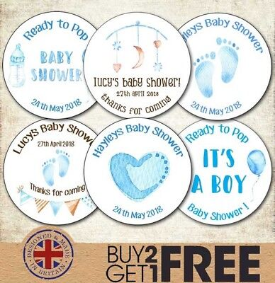 24x 40mm Personalised New Baby Shower Birth Boy Christening/Naming Day  Stickers