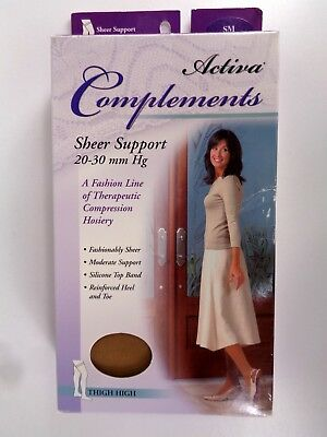 Activa Complements Size SM Sheer Closed Toe Thigh High 20-30 mmHg Bronze