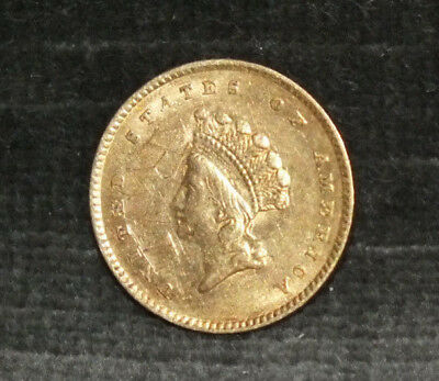 1854 $1 Dollar Gold Indian Princess Head Type 2 AU Details C12