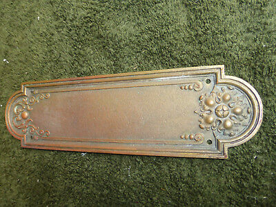 Antique Sargent & Co. Solid Bronze/Brass Push Plate