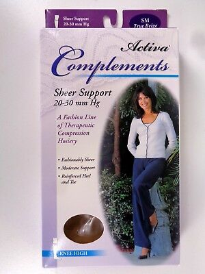 Activa Complements Size SM Sheer Closed Toe Knee High 20-30 mmHg Beige