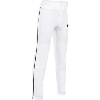 Under Armour Boys UA Clean Up Open Relaxed Baseball Pants White/Black Piped