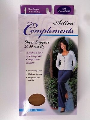 Activa Complements Size SM Sheer Closed Toe Knee High 20-30 mmHg Bronze