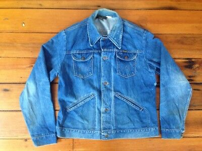 "Vintage Wrangler No Fault Denim USA Made Trucker Western Jean Jacket 46"" Chest"