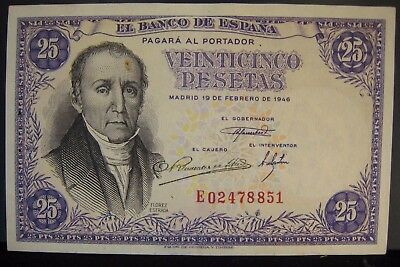 1946 Spain Bank of, 25 Pesetas Higher Grade Staple Hole  ** FREE U.S SHIPPING **