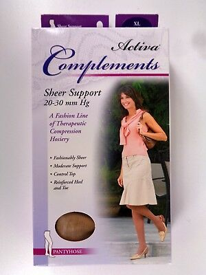 Activa Complements Size XL Sheer Pantyhose 20-30 mmHg Bronze