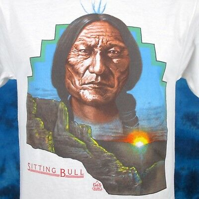 vintage 80s SITTING BULL NATIVE AMERICAN SUNSET T-Shirt SMALL cowboy indian thin