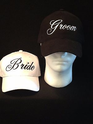 SALE Bride Groom Hats PERSONALIZED  Wedding Hats  Custom Embroidery Bridal Hats