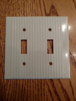 Vintage Leviton Bakelite Ribbed DOUBLE Light Plate Wall Cover Ivory