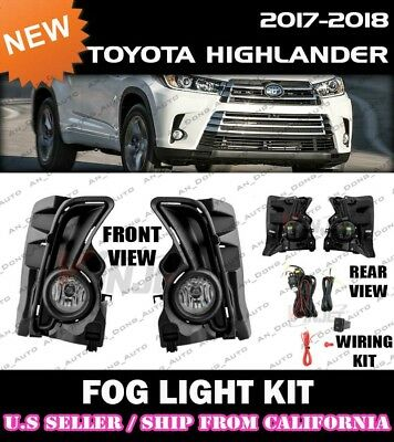 2017 2018 TOYOTA HIGHLANDER Fog Light Driving Lamp Kit w/ switch wiring (CLEAR)