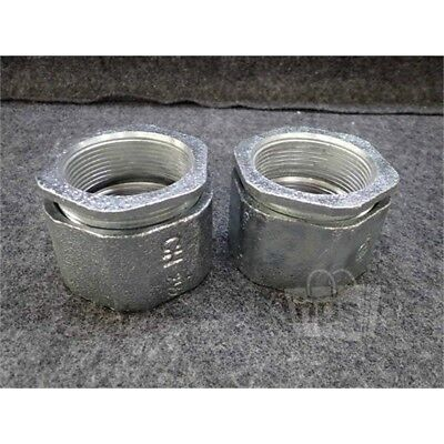 """Lot of 2 Cooper Crouse-Hinds 196HDG 3 Piece Conduit Coupling, 2-1/2"""", Iron"""