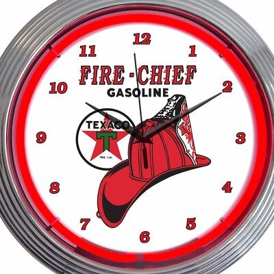 Fire Chief Gasoline Texaco Red White 15 Inch Neon Clock Office Game Room Garage