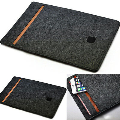 "Felt Laptop Bag Sleeve Case Cover for Apple Macbook Pro Air 13""  Gray Black"