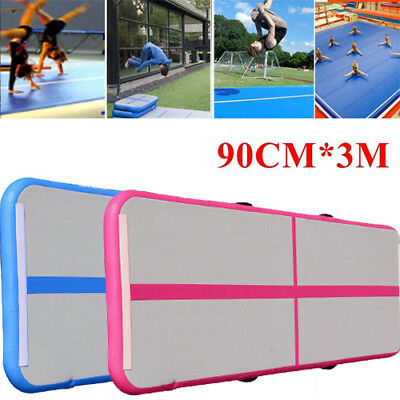 3x 0.9m Inflatable Gymnastics Cheerleading Air Track Floor Home Tumbling Gym Mat