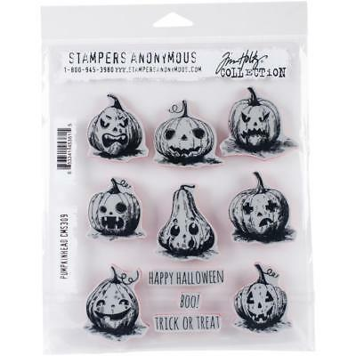 """Tim Holtz Stampers Anonymous """"PUMPKINHEAD"""" Halloween Rubber Cling Stamp Set"""