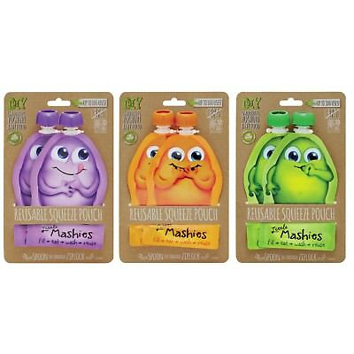 New Little Mashies Reusable Squeeze Food Pouch 2 Pack 2 x 130ml