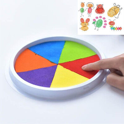 Large Round 6 Colours Pigment Plate Ink Pads Kids Hand Finger Painting DIY Craft