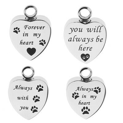 Stainless Steel Forever Love Heart Memorial Urn Keepsake Pendant with Dog Paw