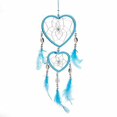 "17"" Traditional Dream Catcher Feathers Wall Car Hanging Ornament Heart Shaped"