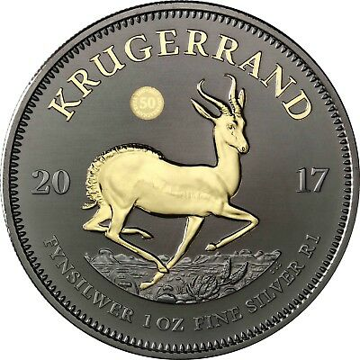 South Africa 2017 Krugerrand - 1oz Silver Coin - BLACK RUTHENIUM EDITION