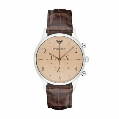 Emporio Armani Mens Gents Chronograph Watch Brown Leather Strap Dial AR1878