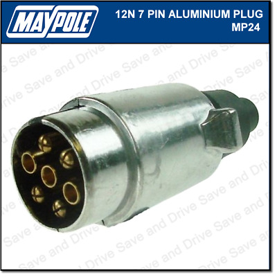 Maypole 12N Metal 7 Pin Plug Towing Trailer Caravan Electrics Aluminium MP024