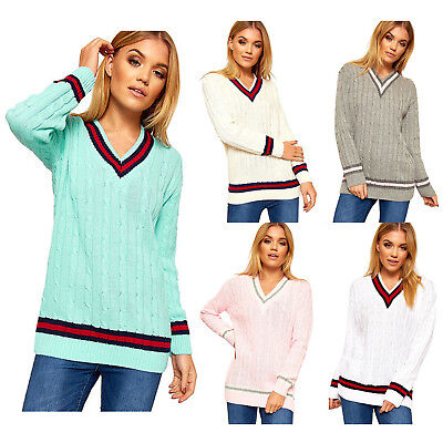 7545487a6fb Womens ladies V NECK CRICKET JUMPER PULLOVER Long Sleeve sports Sweater TOP