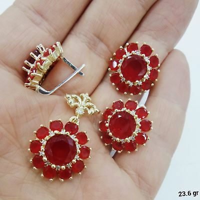 Daisy Design 925 Sterling Silver Jewelry Ruby Stone Ladies Set.
