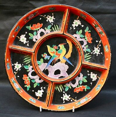 Vintage Japanese Pottery Hand Painted Hors D'Oeuvre Divided Dish Signed Japan