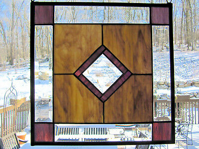 "Multi-Colored Purple Stained Glass Window Panel Approximately 14"" x 1"" Handcraf"