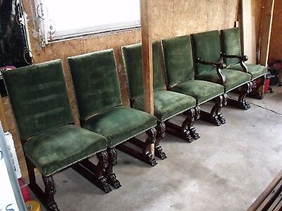 Antique A.J. Johnson & Sons Carved Walnut Dining Room Chairs Chicago Illinois