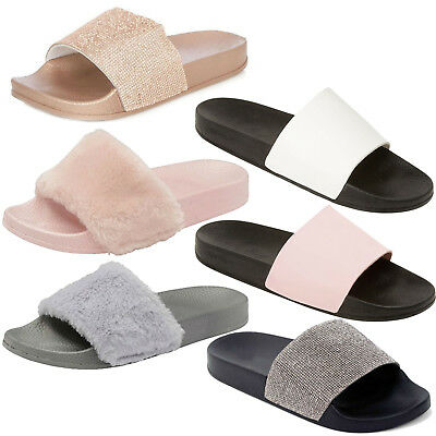 Womens Ladies Flat Fluffy Flip Flops Faux Fur Slidders Slippers Slip On Shoes UK