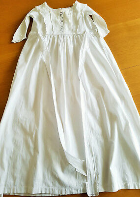 "Edwardian childs nightgown nightdress white cotton 86cm 34"" length Hand-stitched"