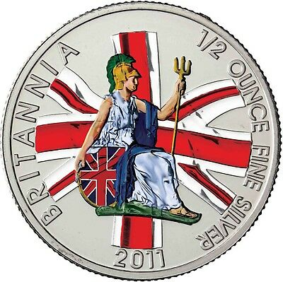 2011 Great Britain 1/2 oz Silver Britannia BU Coin COLOURED in Capsule