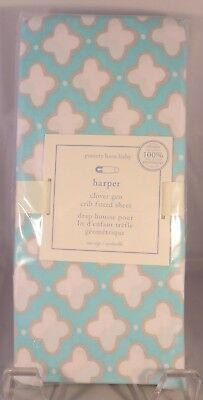 Pottery Barn Harper Clover Geo Crib Fitted Sheet Aqua Gray & White NWT