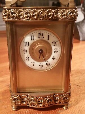 Ornate Brass and Gilt Clock ANTIQUE Rare French Carriage Clock Louis XV Doucine