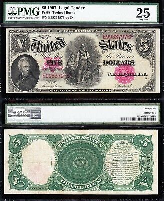 "VERY NICE Bold Mid-Grade VF $5 1907 ""WOODCHOPPER"" Note! PMG 25! E99337976"