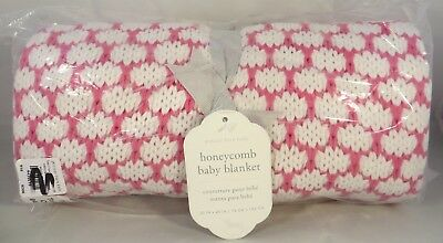 Pottery Barn Kids Honeycomb Baby Stroller Blanket Knit - Pink & White NWT